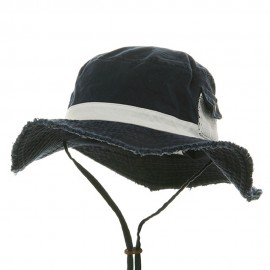Washed Frayed Bucket Hats-Navy White