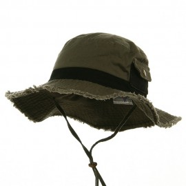 Washed Frayed Bucket Hats-Olive Black