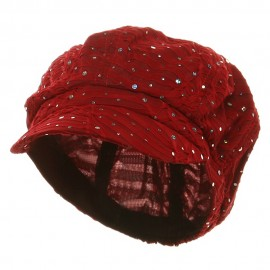 Glitter Newsboy Cap-Red