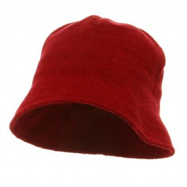 Plain Chenille Bucket Hats-Red
