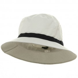 Oversized Water Repellent Brushed Golf Hat - White Navy