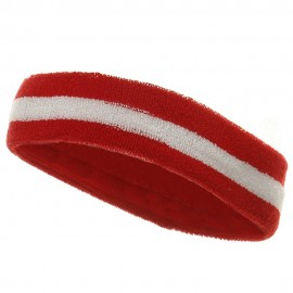 Terry Stripe Headband-Red White