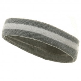 Terry Stripe Headband-Grey White