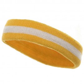 Terry Stripe Headband-Yellow White