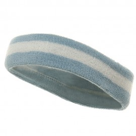 Terry Stripe Headband-Blue White