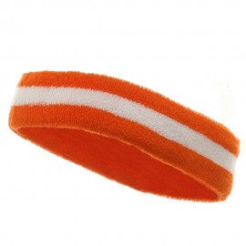 Terry Stripe Headband-Orange White
