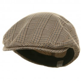 Big Size Elastic Plaid Fashion Ivy Cap - Beige
