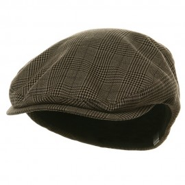 Big Size Elastic Plaid Fashion Ivy Cap - Brown