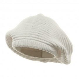Medium Crown New rasta Beanie Hat - White