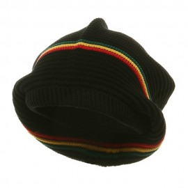 Medium Crown New rasta Beanie Hat - Black rgy