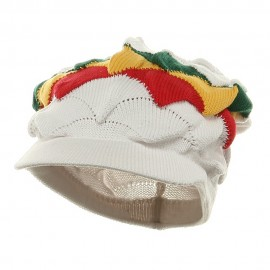New Rasta Visor Hat - White RGY
