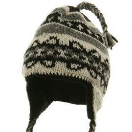 Ring Jacquard Knitting Beanie-Off White