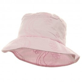 Ladies Embroidered Cotton Fashion Bucket Hat - Light Pink