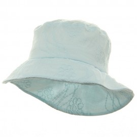 Ladies Embroidered Cotton Fashion Bucket Hat - Turquoise