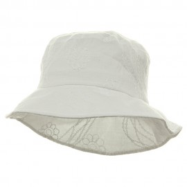 Ladies Embroidered Cotton Fashion Bucket Hat