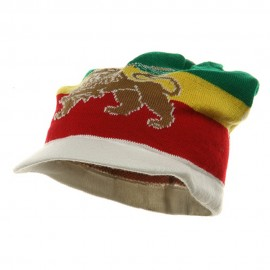 Regular Lion Rasta Beanie Visor Hat-White