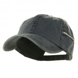 Low Profile Washed Side Zipper Pocket Cap - Navy White