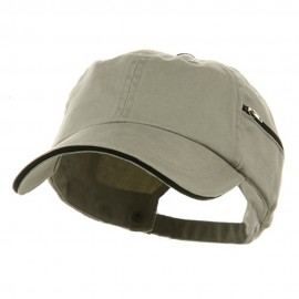 Low Profile Washed Side Zipper Pocket Cap - Putty Black
