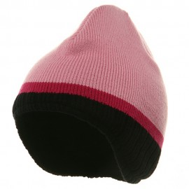 Three Tone Ear Flap Beanie-Pink Black Hot Pink
