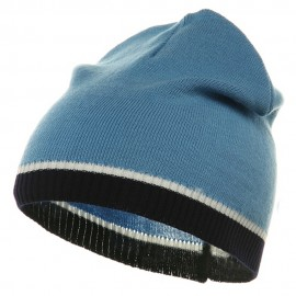 Tri Color Short Beanie-Blue Navy