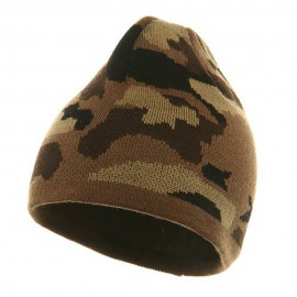Camo Design Beanie-Camel Brown Khaki