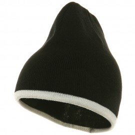 Short Trim Beanie-Black White