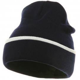 Color Trim Long Beanie-Navy White