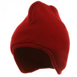 Acrylic Solid Knit Beanies-Red