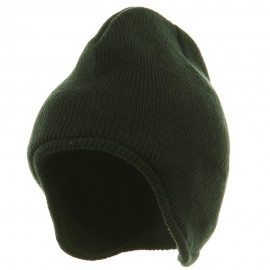 Acrylic Solid Knit Beanies-Forest