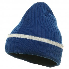 Knit with Cuff and Stripe - Royal White