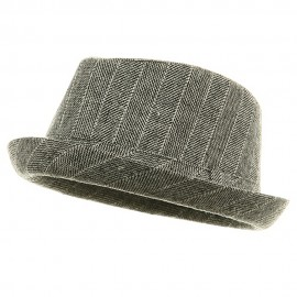 Short Brim Stripe Fedora Hat