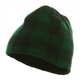 Buffalo Plaid Short Beanie - Green Black
