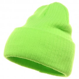 Acrylic Ribbed Cuff Beanie - Lime