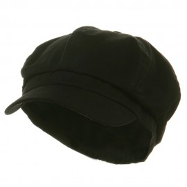 Cotton Elastic Newsboy Cap-Black
