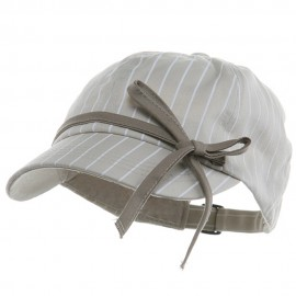 Ladies White Stripe 6 Panel Newsboy Hat - Stone
