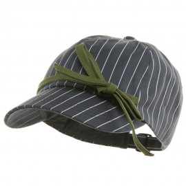 Ladies White Stripe 6 Panel Newsboy Hat
