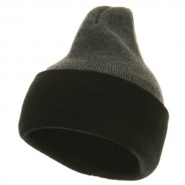Two Tone Cuff Beanie USA - Grey Black