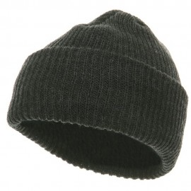 Solid Plain Watch Cap Beanie - Charcoal