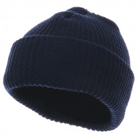 Solid Plain Watch Cap Beanie - Navy