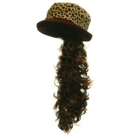 Leopard Velvet Hats with Hair - Brown Leopard