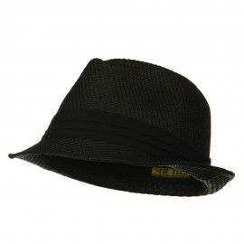 Over Size Fedora Hat - Black Black Band