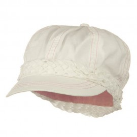 Ladies Brushed Canvas Newsboy Hat - White