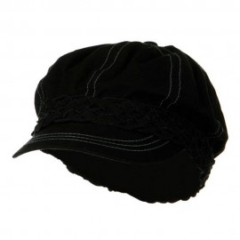 Ladies Brushed Canvas Newsboy Hat - Black