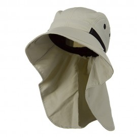 Moisture Management Large Bill Flap Cap - Stone