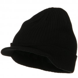 Big Knit Ribbed Beanie with Visor - Black