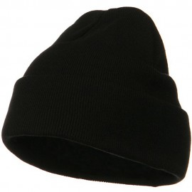 Big Size Superior Cotton Long Knitting Beanie-Black