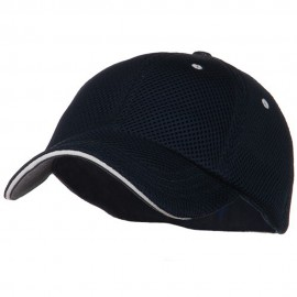 Deluxe Mesh Sandwich Bill Fitted Cap - Navy White