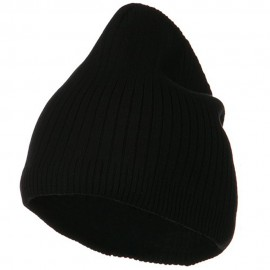 Big Stripe Ribbed Cotton Beanie - Black