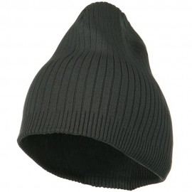 Big Stripe Ribbed Cotton Beanie - Charcoal