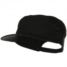 5 Panel Camouflage Twill Cap - Black